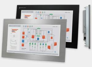 19,5-Zoll-Industrie-Einbaumonitor und -Touchscreen, Front- und Seitenansicht