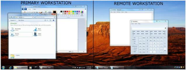 Die Smart-Taskleiste erscheint auf dem Remote-Monitor und ermöglicht einen bequemen Zugriff auf die Anwendung