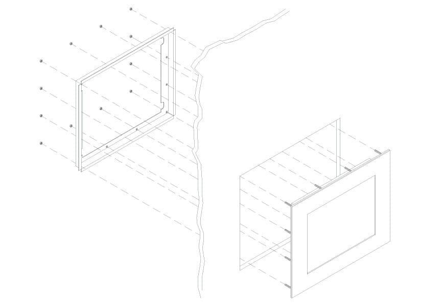 Montageskizze für den Einbaumonitor