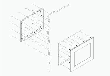 Montageskizze für Industrie-Einbaumonitore