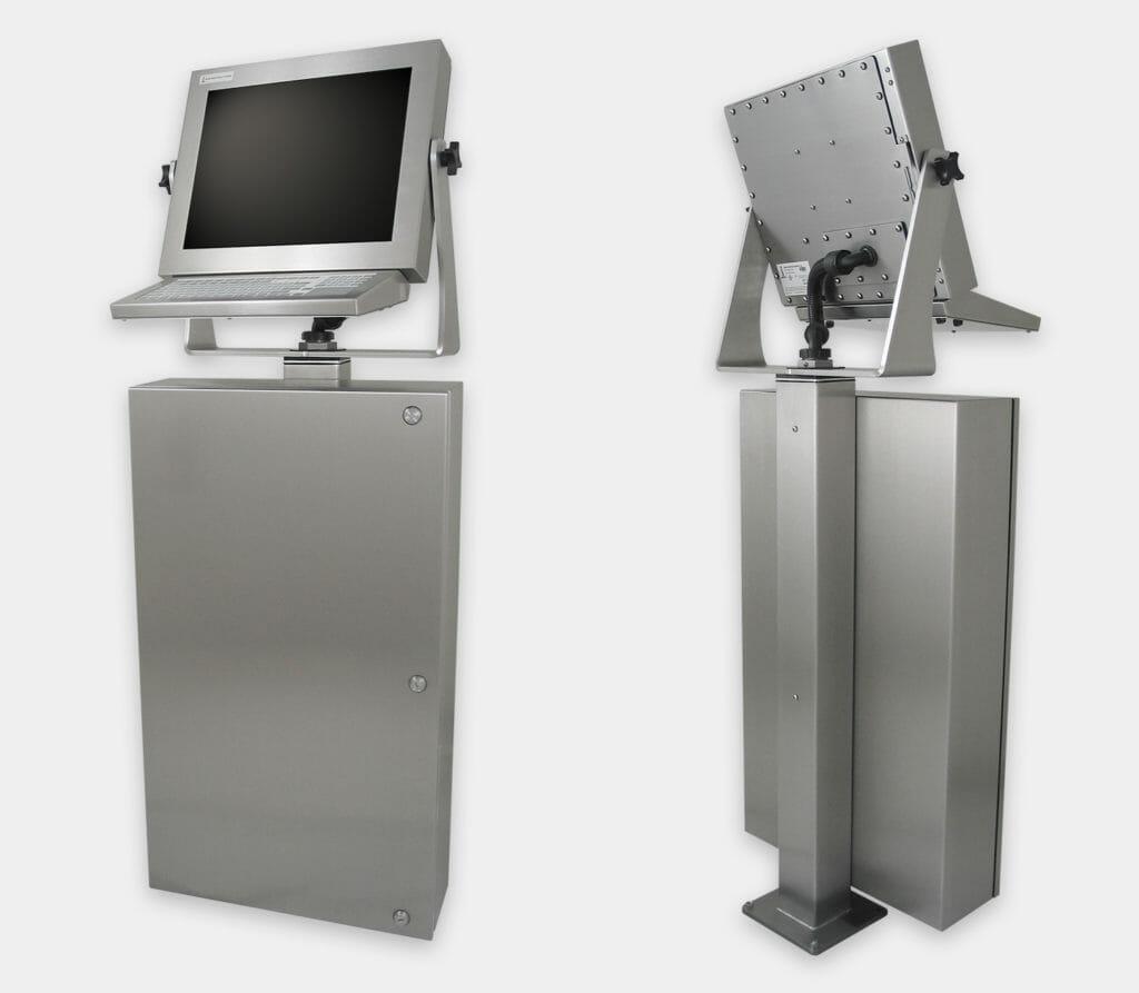 Industriegehäuse für handelsübliche/Industrie-PCs, Vorder- und Rückansicht