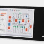15-Zoll-Industrie-Rackmonitore and robuste Touchscreens nach IP20, Front- und Seitenansicht