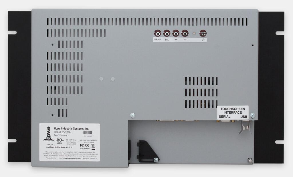 15-Zoll-Industrie-Rackmonitore und robuste IP20-Touchscreens, Rückansicht