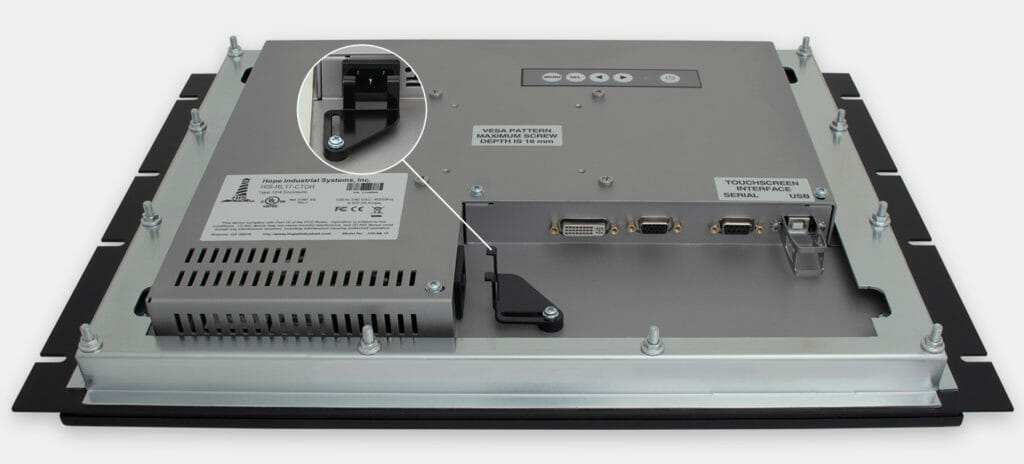 17-Zoll-Industrie-Rackmonitore und robuste Touchscreens nach IP20, Ansicht AC-Kabelausgang