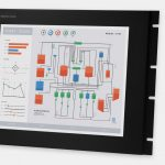17-Zoll-Industrie-Rackmonitore und robuste IP20-Touchscreens, Front- und Seitenansicht