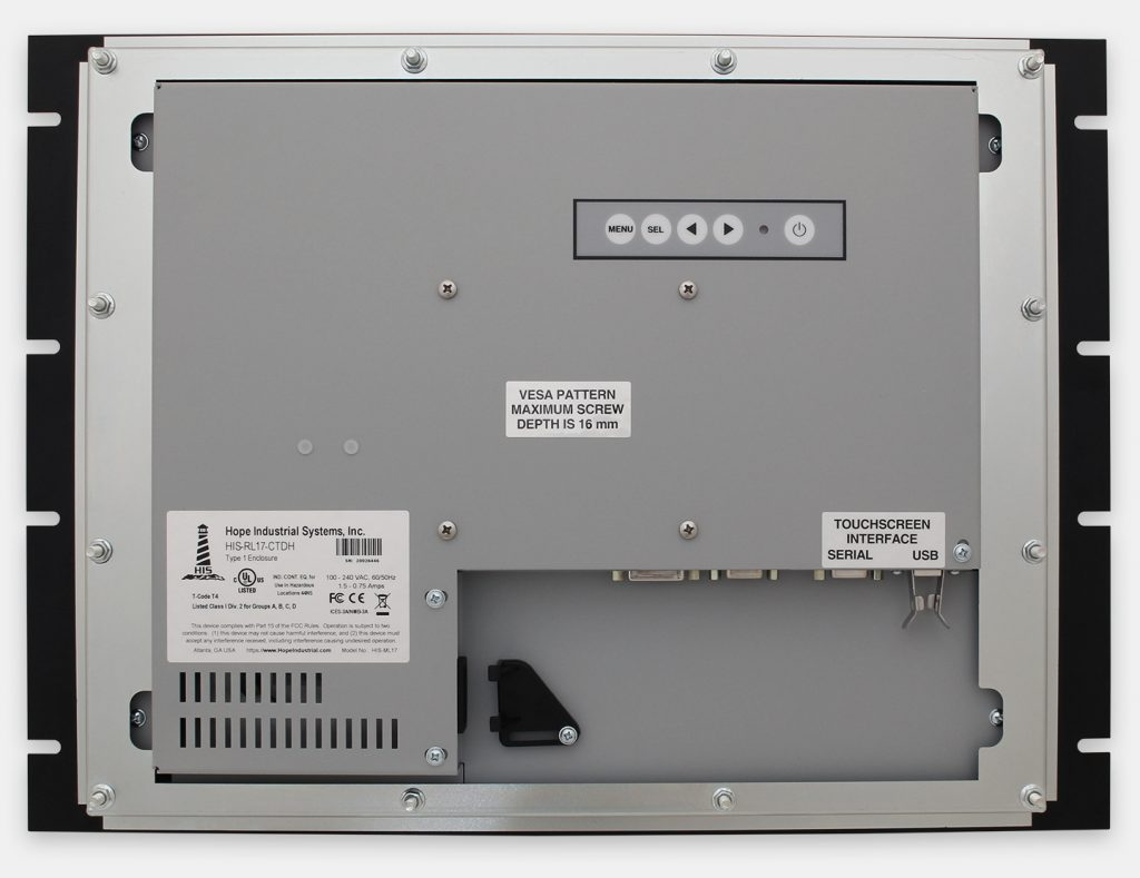 17-Zoll-Industrie-Rackmonitore und robuste IP20-Touchscreens, Rückansicht