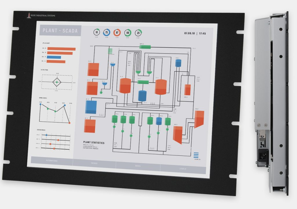 19,5-Zoll-Industrie-Rackmonitore und robuste Touchscreens nach IP20, Front- und Seitenansicht