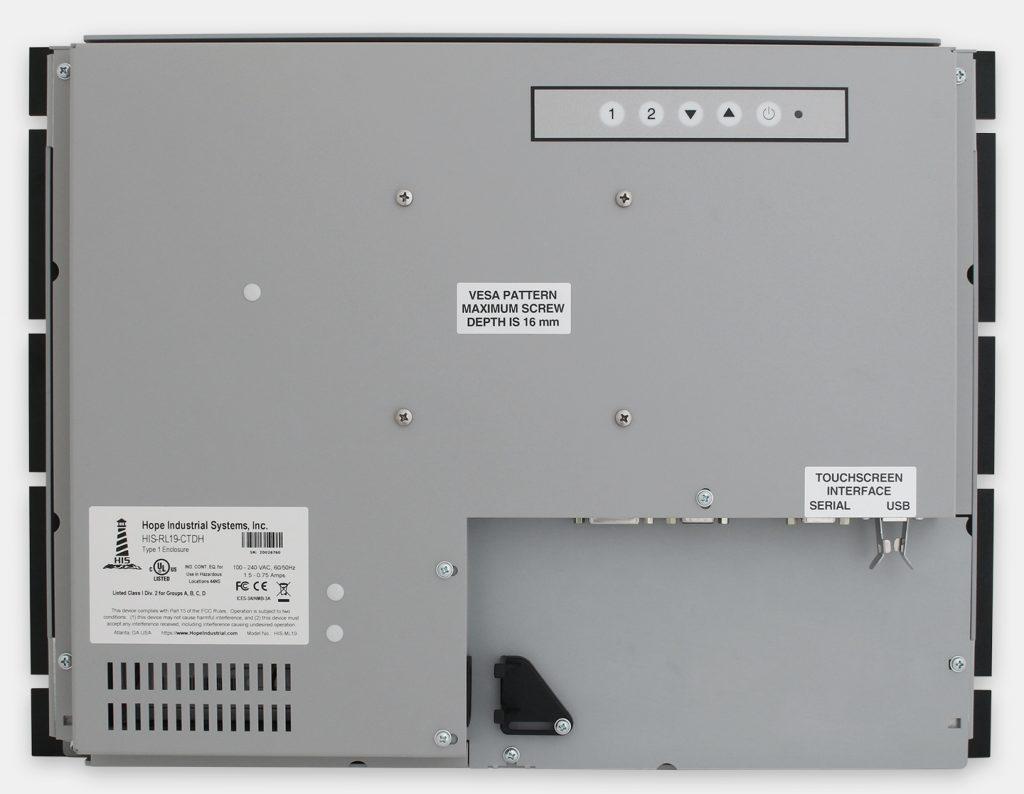 19,5-Zoll-Industrie-Rackmonitore und robuste Touchscreens nach IP20, Rückansicht