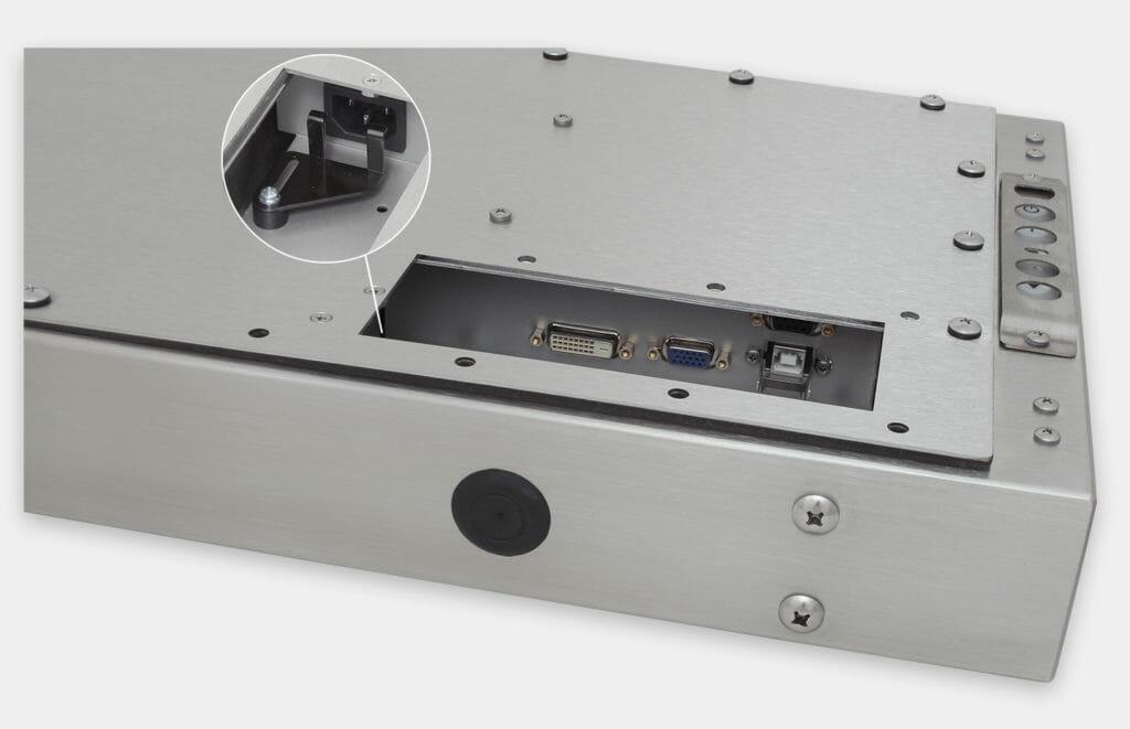 19,5-Zoll-Breitbild-Industriemonitore mit Universalhalterung und  robusten Touchscreens nach IP65/IP66, Ansicht AC-Kabelausgang