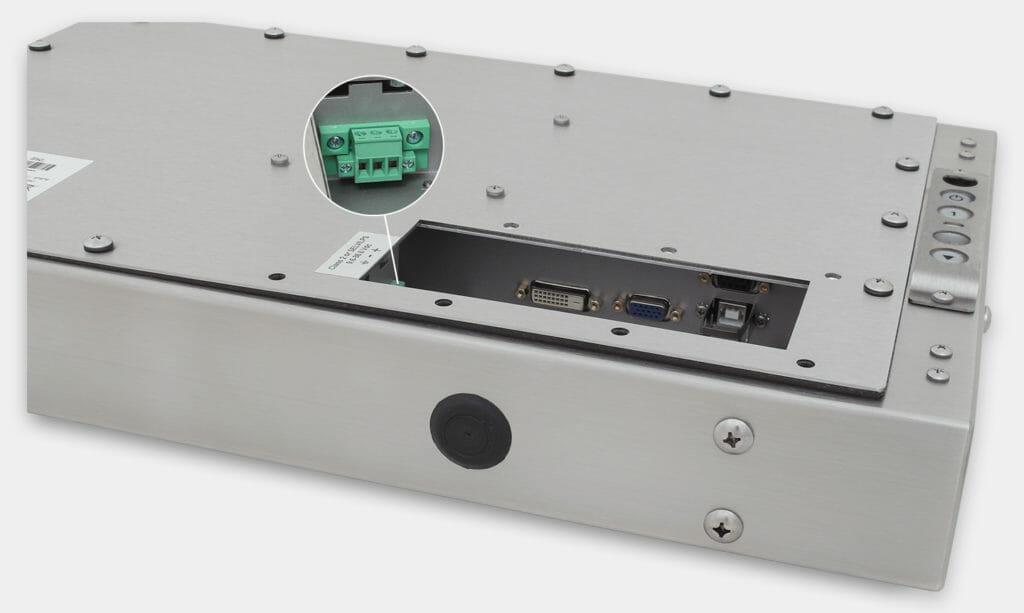19,5-Zoll-Breitbild-Industriemonitore mit Universalhalterung und robuste Touchscreens gemäß Schutzart IP65/IP66; Ansicht DC-Kabelausgang