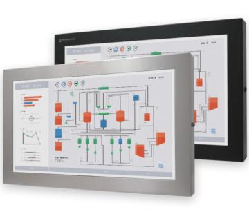 23-Zoll-Breitbild-Industriemonitore mit Universalhalterung, und robuste Touchscreens nach IP65/IP66, vollständig geschlossene Bildschirme