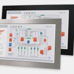 23-Zoll-Breitbild-Industrie-Einbaumonitore und robuste Touchscreens der Schutzart IP65/IP66, Front- und Seitenansicht