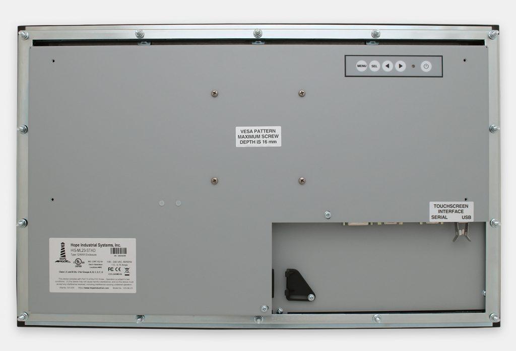 23-Zoll-Breitbild-Industrie-Einbaumonitore und robuste Touchscreens der Schutzart IP65/IP66, Rückansicht
