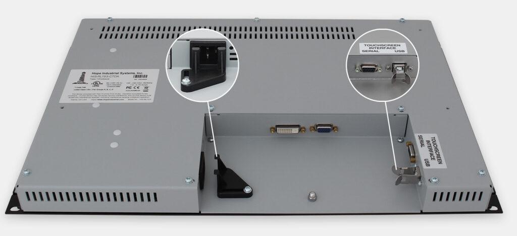 19,5-Zoll-Breitbild-Industrie-Rackmonitore und robuste IP20-Touchscreens, Ansicht AC-Kabelausgang
