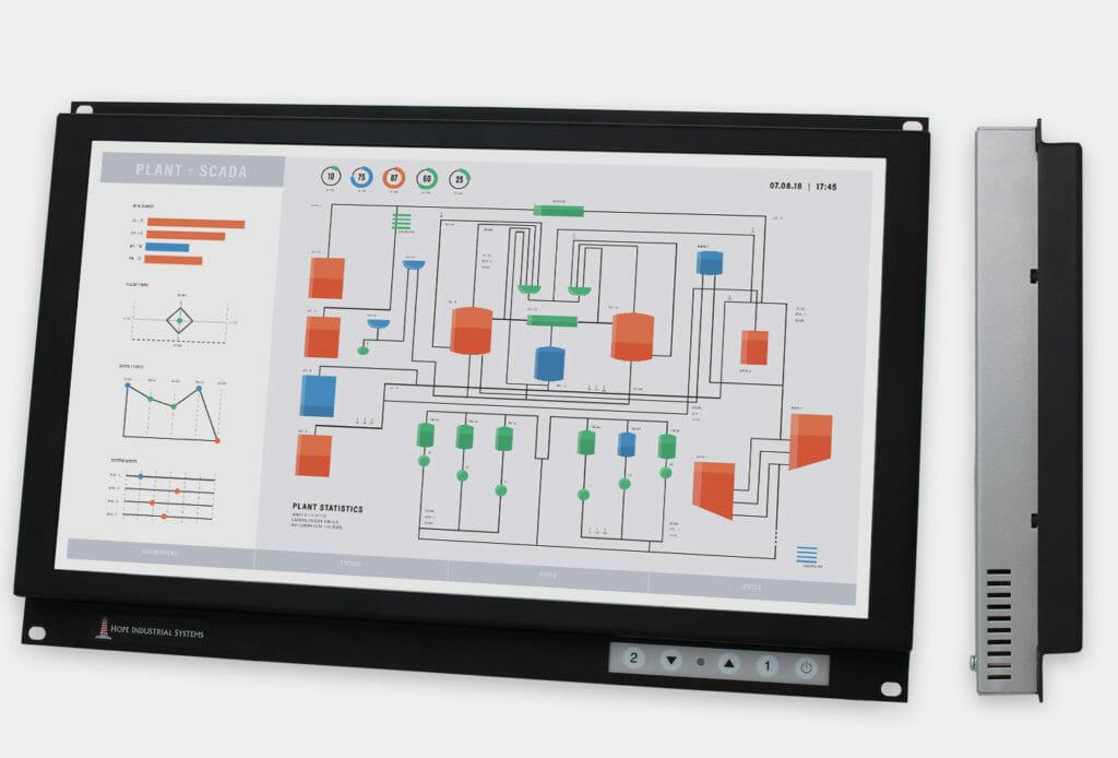 19,5-Zoll-Breitbild-Industrie-Rackmonitore und robuste IP20-Touchscreens, Front- und Seitenansicht