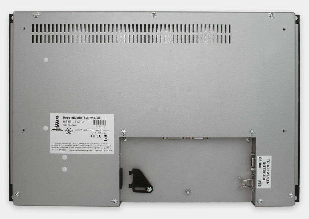 19,5-Zoll-Breitbild-Industrie-Rackmonitore und robuste IP20-Touchscreens, Rückansicht