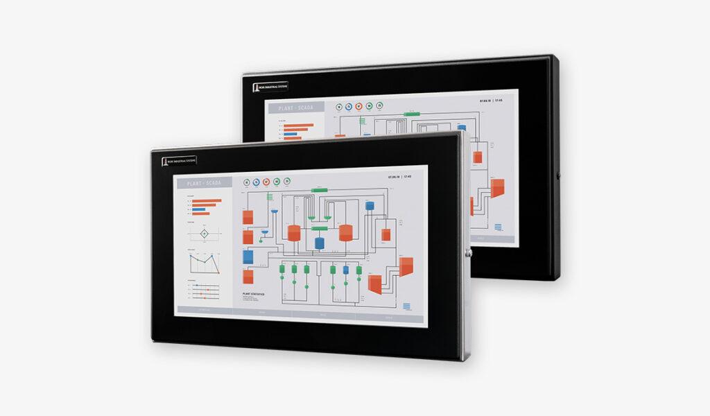 Vollständig geschlossene 19,5-Zoll-Breitbildmonitore mit Universalhalterung und robustem Touchscreen.