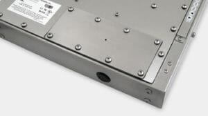 Abdeckplatten-Option nach IP65/IP66 mit Pilotbohrung für Industriemonitore mit Universalhalterung