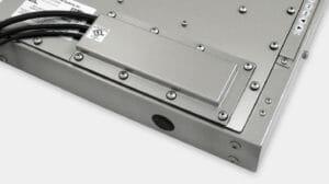 Option für Stopfbuchsen-Kabelausgangsabdeckplatte gemäß Schutzart IP65/IP66 oder IP22 für Industriemonitore mit Universalhalterung
