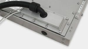 Stopfbuchse gemäß Schutzart IP65/IP66 mit Option für Kabelkanalausgangsabdeckplatte für Industriemonitore mit Universalhalterung