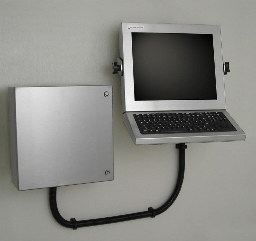 Wandmontierte Workstation mit Industrie-Gehäuse für Thin Clients und PCs mit kleinem Formfaktor