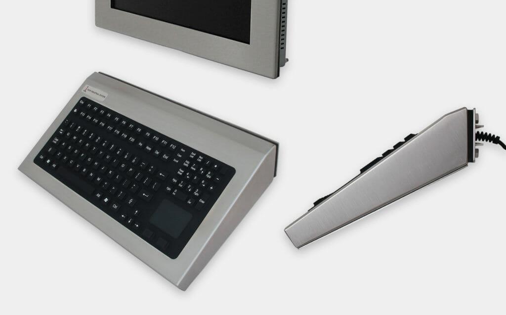 Fest montierte Industrie-Tastaturen für Wandmontage mit Zeigegerät, 35-Grad-Montage, Schutzart IP65/IP66