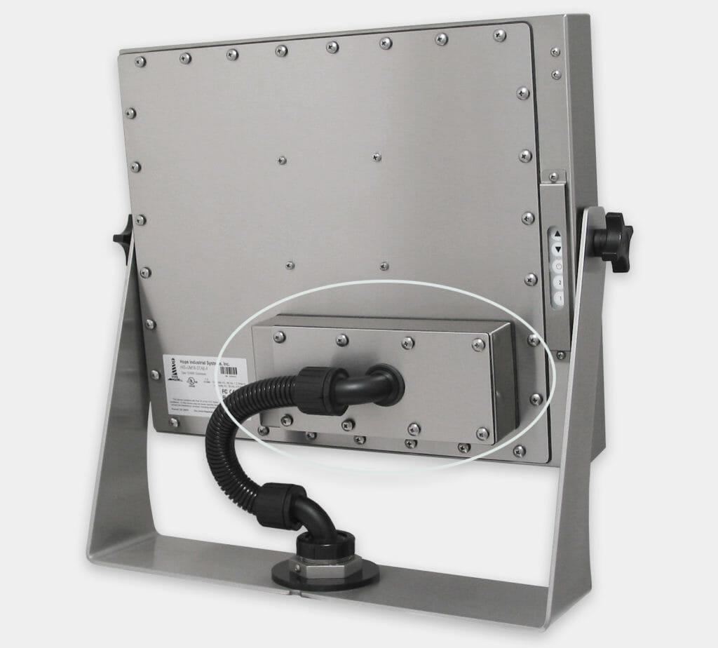 60-m-Industrie-KVM-Extender hinten montiert auf einem Monitor mit Universalhalterung