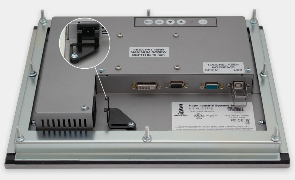 12-Zoll-Industrie-Einbaumonitore und robuste Touchscreens der Schutzart IP65/IP66, Ansicht AC-Kabelausgang