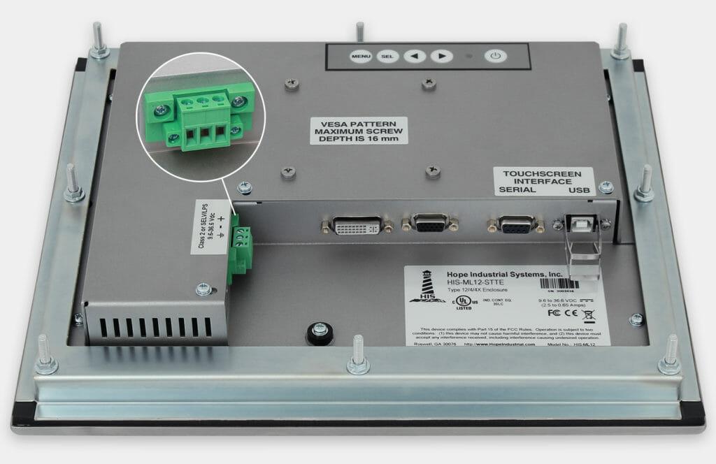 12-Zoll-Industrie-Einbaumonitore und robuste Touchscreens der Schutzart IP65/IP66, Ansicht DC-Kabelausgang