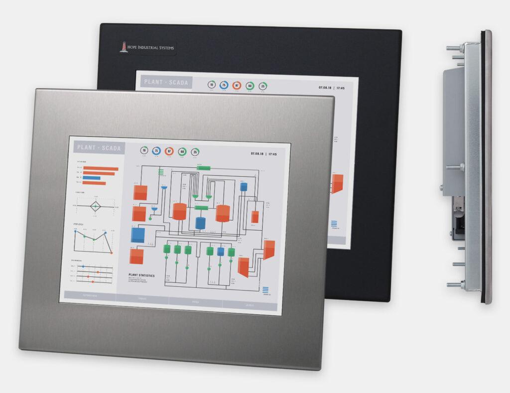 12-Zoll-Industrie-Einbaumonitore und robuste Touchscreens der Schutzartklasse IP65/IP66, Front- und Seitenansicht