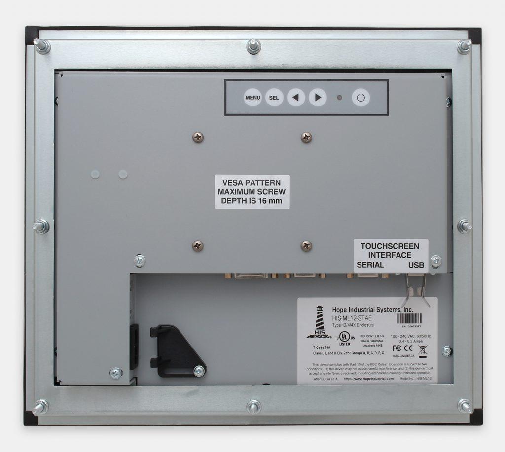 12-Zoll-Industrie-Einbaumonitore und robuste Touchscreens der Schutzart IP65/IP66, Rückansicht