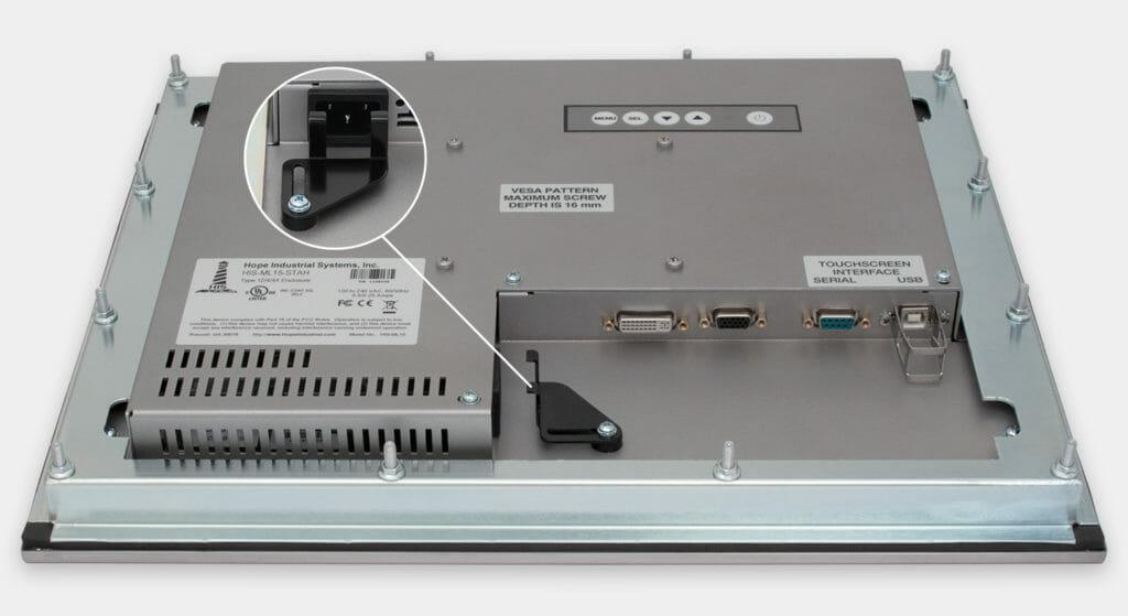 15-Zoll-Industrie-Einbaumonitore und robuste Touchscreens der Schutzart IP65/IP66, Ansicht AC-Kabelausgang