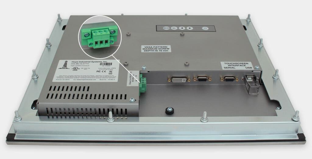 15-Zoll-Industrie-Einbaumonitore und robuste Touchscreens der Schutzart IP65/IP66, Ansicht DC-Kabelausgang