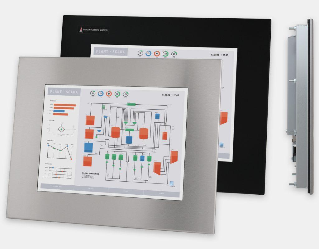 15-Zoll-Industrie-Einbaumonitore und robuste Touchscreens der Schutzart IP65/IP66, Front- und Seitenansicht