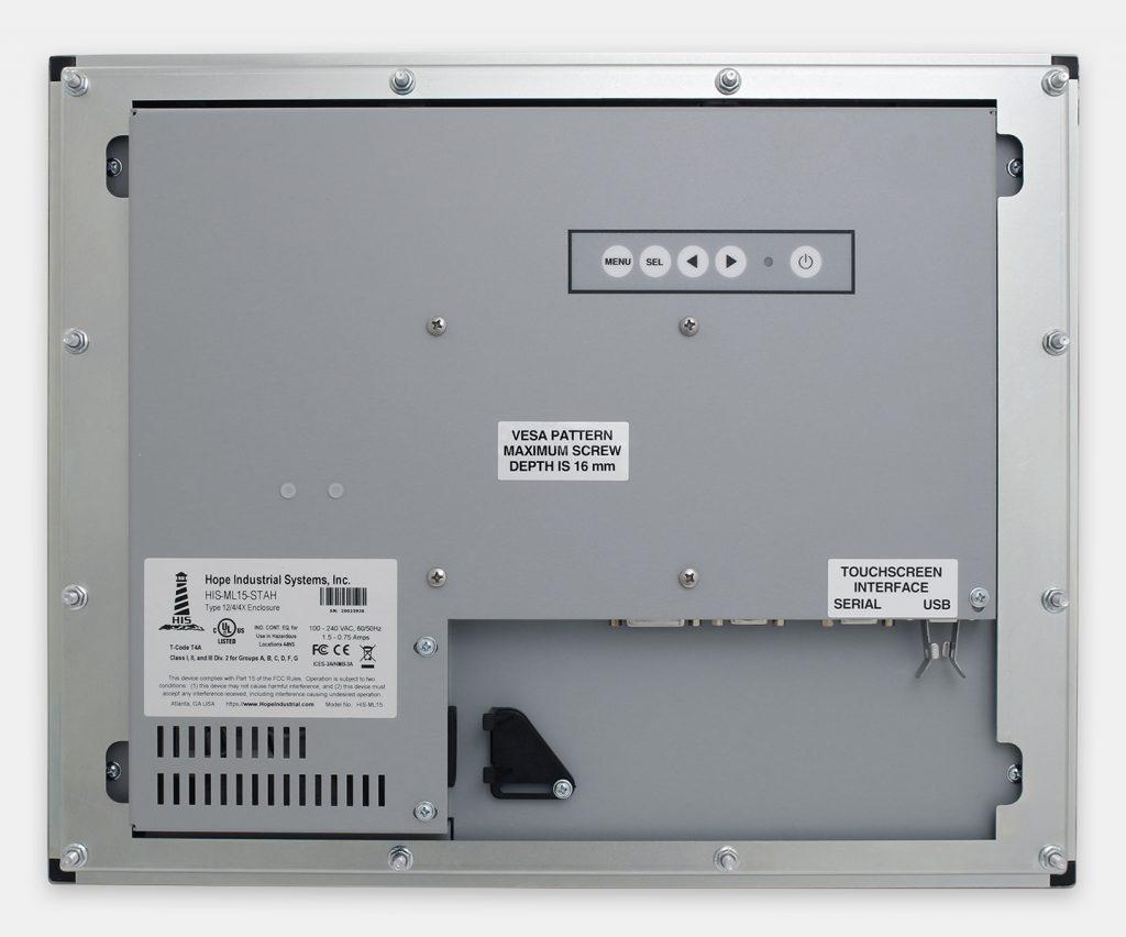 15-Zoll-Industrie-Einbaumonitore und robuste Touchscreens der Schutzart IP65/IP66, Rückansicht