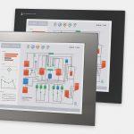 17-Zoll-Industrie-Einbaumonitore und robuste Touchscreens der Schutzart IP65/IP66, Front- und Seitenansicht