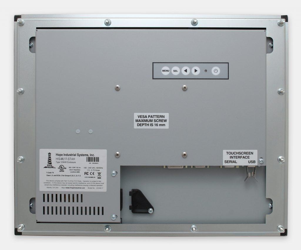 17-Zoll-Industrie-Einbaumonitore und robuste Touchscreens der Schutzart IP65/IP66, Rückansicht