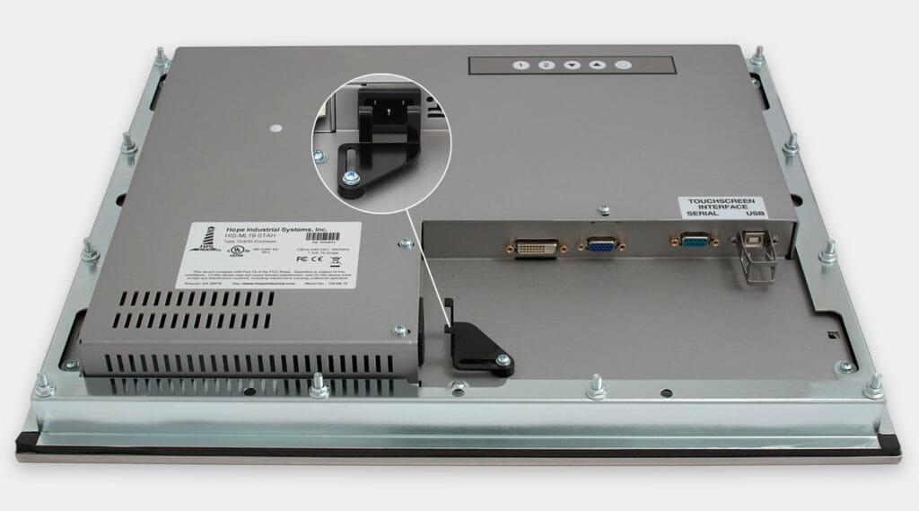 19-Zoll-Industrie-Einbaumonitore und robuste Touchscreens der Schutzart IP65/IP66, Ansicht AC-Kabelausgang