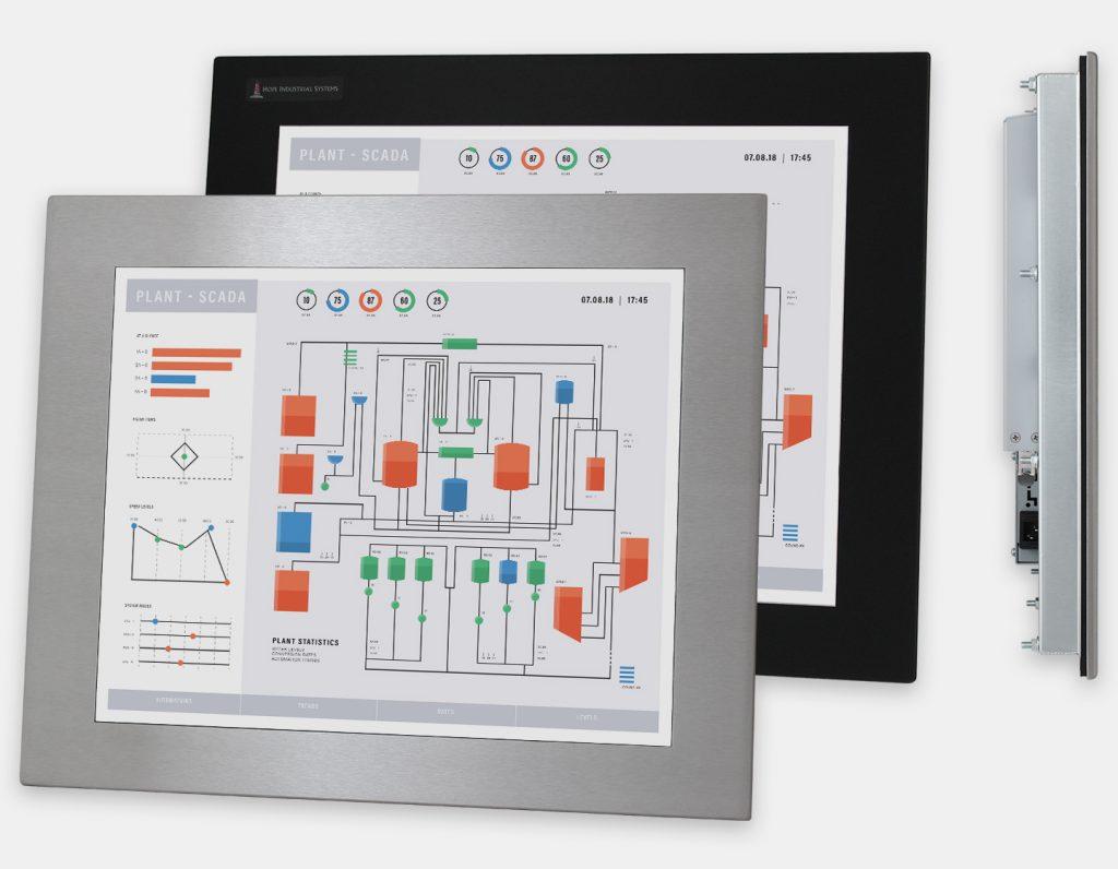 19-Zoll-Industrie-Einbaumonitore und robuste Touchscreens der Schutzart IP65/IP66, Front- und Seitenansicht