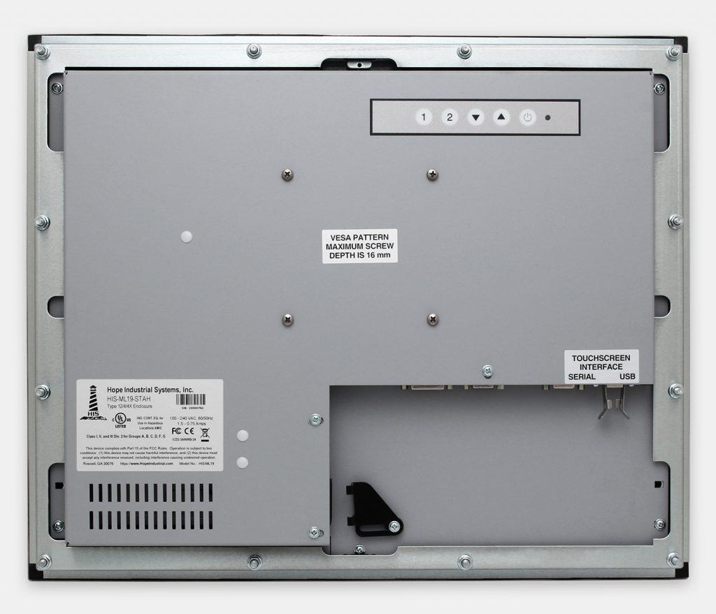 19-Zoll-Industrie-Einbaumonitore und robuste Touchscreens der Schutzart IP65/IP66, Rückansicht