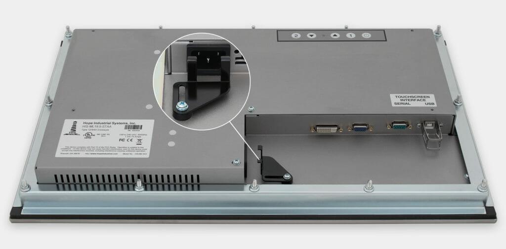 19,5-Zoll-Breitbild-Industrie-Einbaumonitore und robuste Touchscreens der Schutzart IP65/IP66, Ansicht AC-Kabelausgang