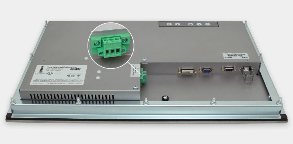 19,5-Zoll-Breitbild-Industrie-Einbaumonitore und robuste Touchscreens der Schutzart IP65/IP66, Ansicht DC-Kabelausgang