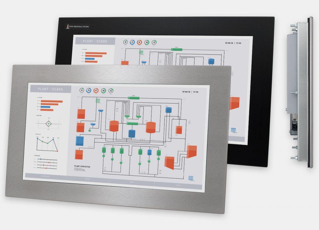 19,5-Zoll-Breitbild-Industrie-Einbaumonitore und robuste Touchscreens der Schutzart IP65/IP66, Front- und Seitenansicht