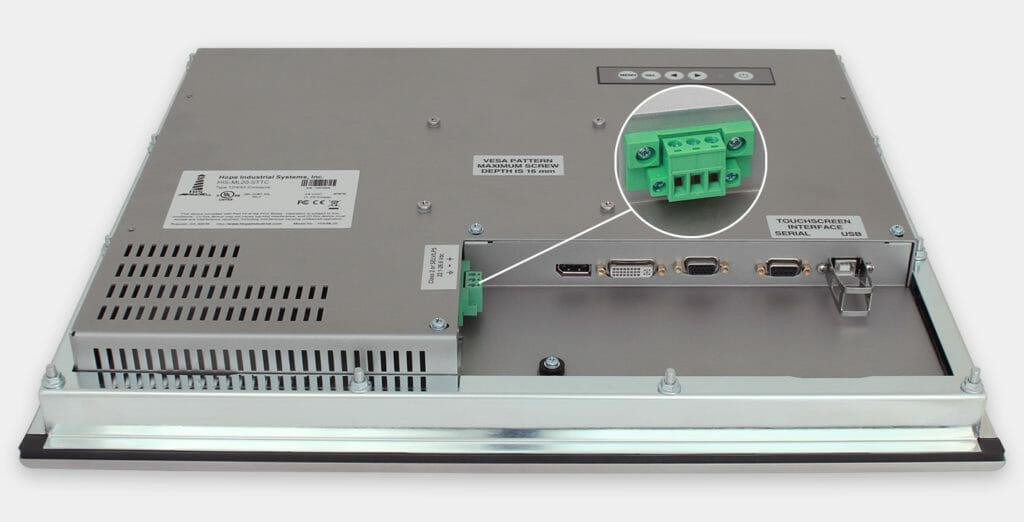 20-Zoll-Industrie-Einbaumonitore und robuste Touchscreens der Schutzart IP65/IP66, Ansicht DC-Kabelausgang