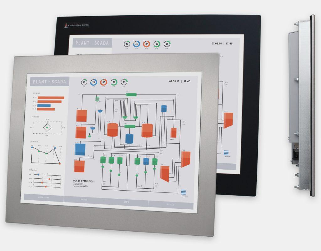 20-Zoll-Industrie-Einbaumonitore und robuste Touchscreens der Schutzart IP65/IP66, Front- und Seitenansicht