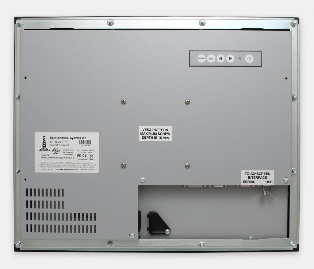 20-Zoll-Industrie-Einbaumonitore und robuste Touchscreens der Schutzart IP65/IP66, Rückansicht