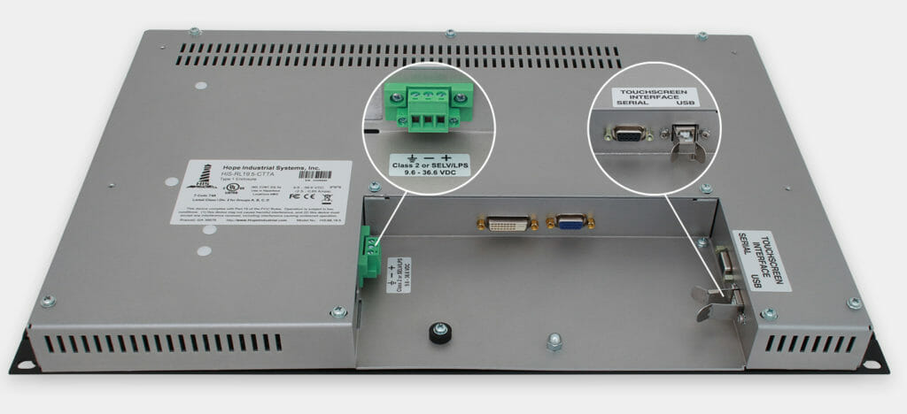 19,5-Zoll-Breitbild-Industrie-Rackmonitor und robuste IP20-Touchscreens, Ansicht DC-Kabelausgang