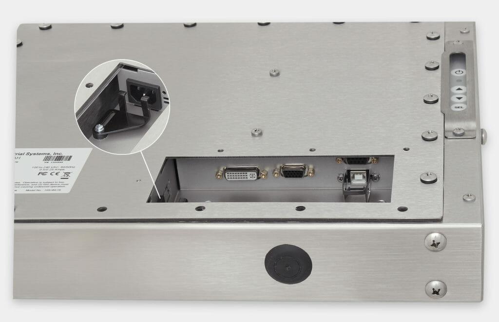15-Zoll-Industriemonitore mit Universalhalterung und robuste Touchscreens der Schutzart IP65/IP66, Ansicht AC-Kabelausgang