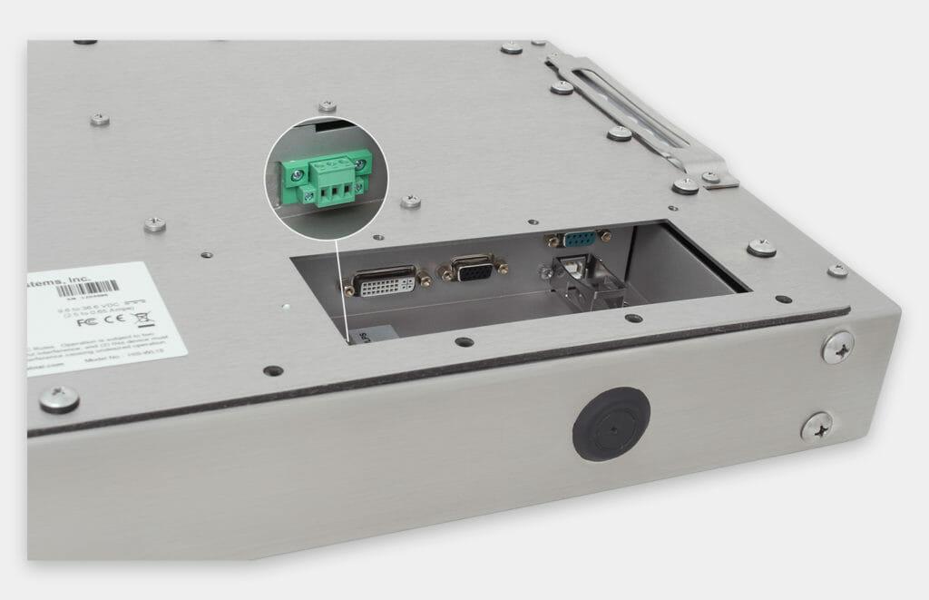 15-Zoll-Industriemonitore mit Universalhalterung und robuste Touchscreens der Schutzart IP65/IP66, Ansicht DC-Kabelausgang