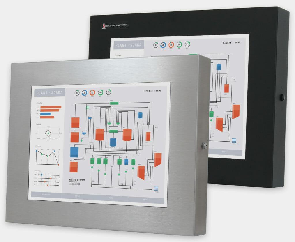 15-Zoll-Industriemonitore mit Universalhalterung und robuste Touchscreens der Schutzart IP65/IP66, Vorderansicht